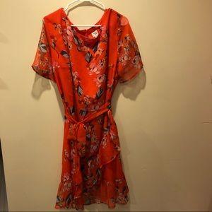 Orange short sleeve dress NWOT